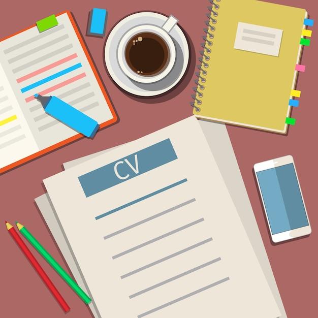 Schreiben eines business-cv-lebenslauf-konzepts. flaches design Premium Vektoren