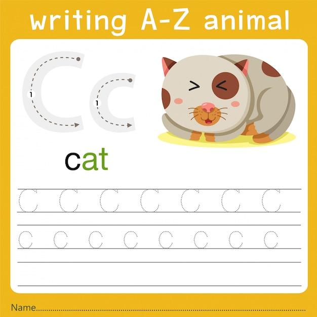 Schreiben eines tieres c Premium Vektoren