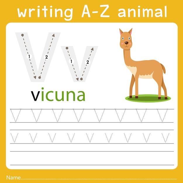 Schreiben eines tieres v Premium Vektoren