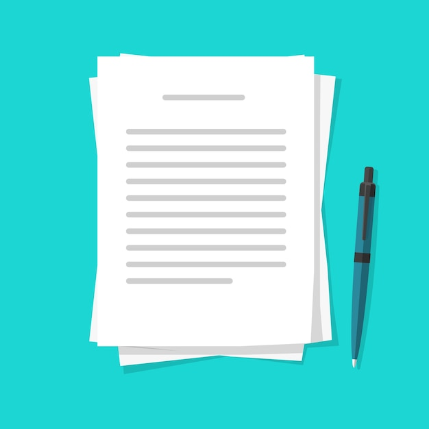 Schreiben von textbriefinhalten auf papierdokumentbögen mit einem stift Premium Vektoren