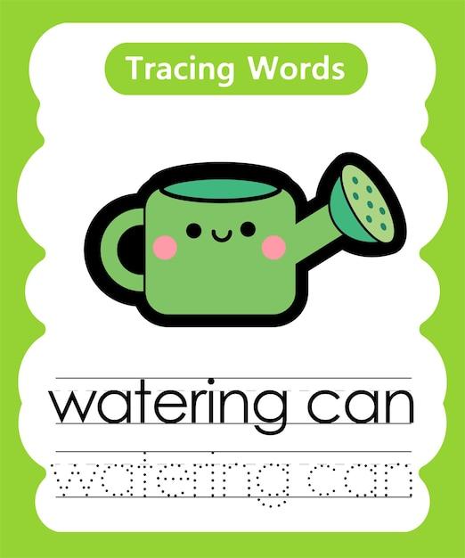 Schreiben von übungswörtern alphabet-verfolgung mit gießkanne Premium Vektoren