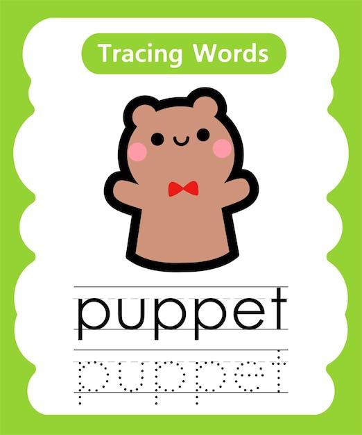Schreiben von übungswörtern alphabet-verfolgung p - marionette Premium Vektoren