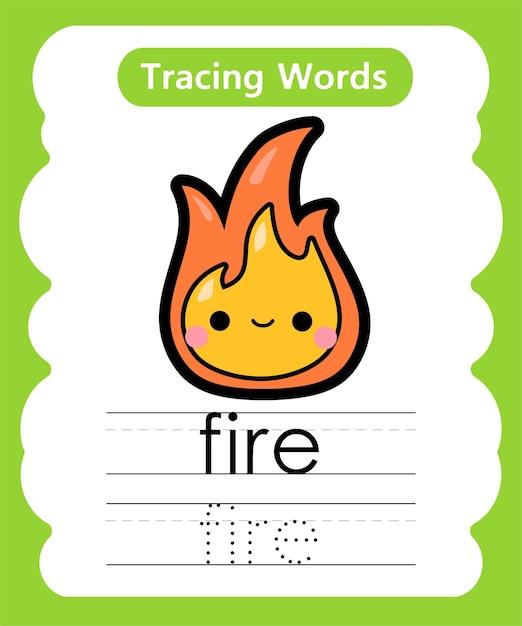 Schreiben von übungswörtern alphabet-verfolgung von feuer Premium Vektoren