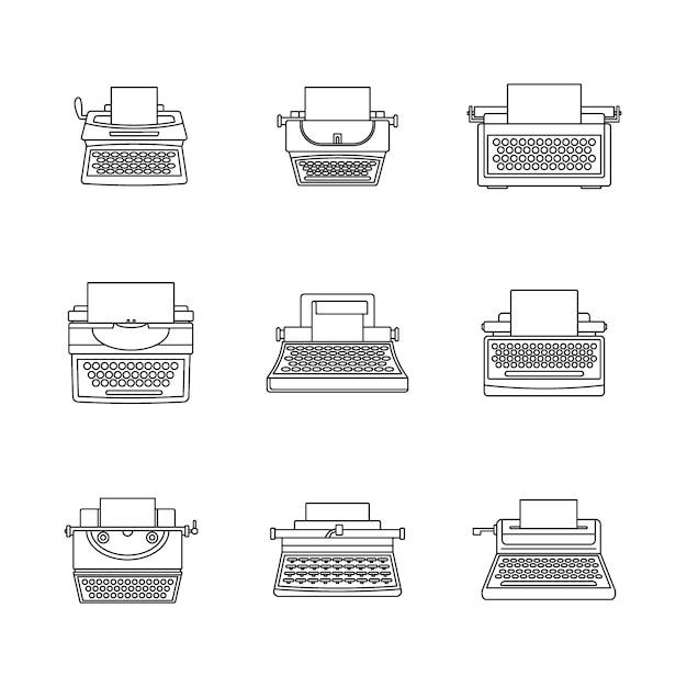 Schreibmaschinenmaschine schlüssel icons set Premium Vektoren