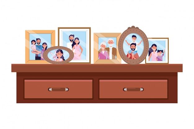 Schreibtisch mit bilderrahmen Premium Vektoren