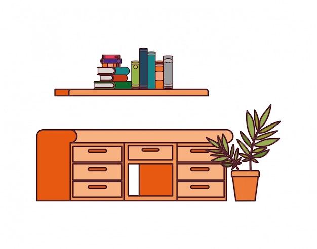 Schreibtisch und regal mit stapel büchern Kostenlosen Vektoren
