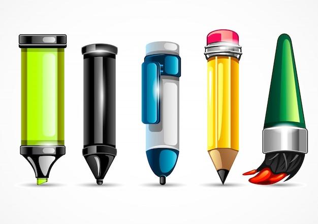 Schreibwaren für die schule Premium Vektoren