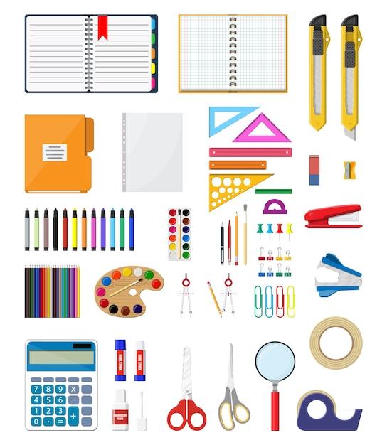 Schreibwaren-set-symbole. buch, notizbuch, lineal, messer, ordner, bleistift, stift, taschenrechner, schere, farbbanddatei bürobedarf schule büro- und bildungsausrüstung Premium Vektoren