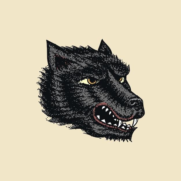 Schreiender verrückter wolf für tätowierung oder etikett. brüllendes tier. Premium Vektoren