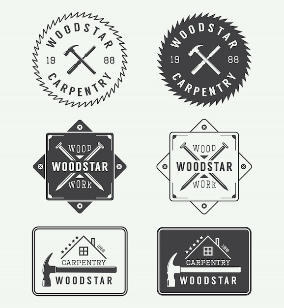 Schreineretiketten, embleme Premium Vektoren