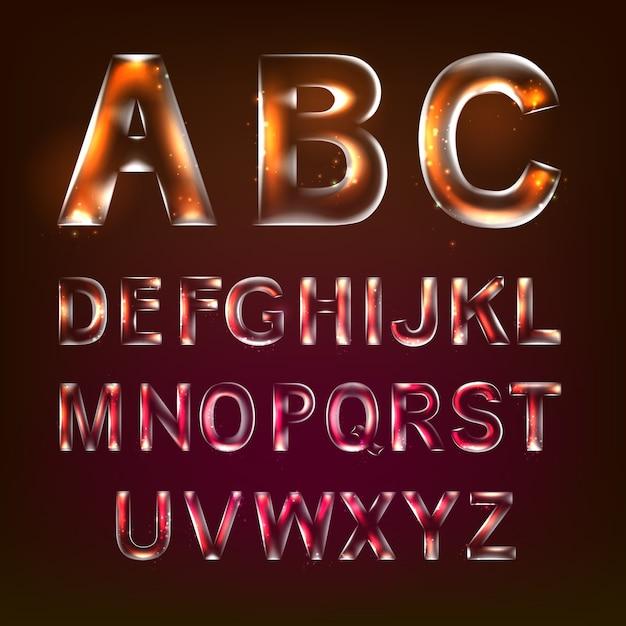 Schrift alphabet symbole im stil von transparentem glas Kostenlosen Vektoren