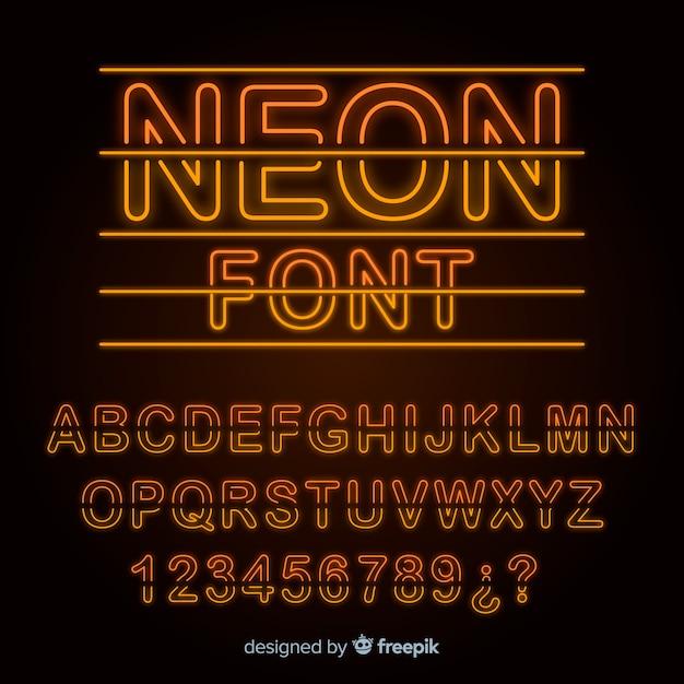 Schrift mit alphabet im neonstil Kostenlosen Vektoren
