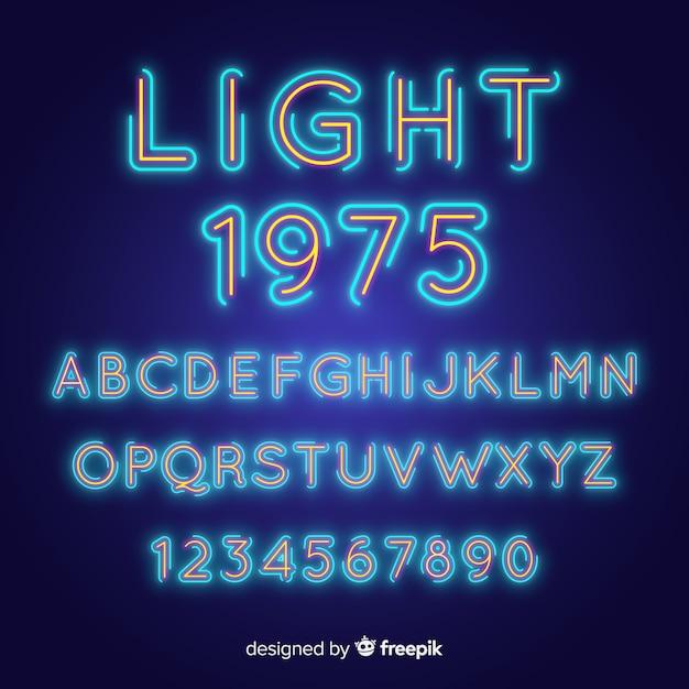 Schrift mit alphabet im neonstil Premium Vektoren
