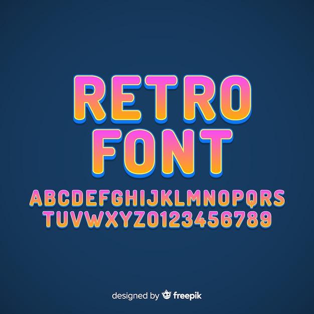 Schrift mit alphabet im retro-stil Kostenlosen Vektoren