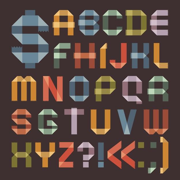 Schrift von farbigem klebeband - römisches alphabet Premium Vektoren