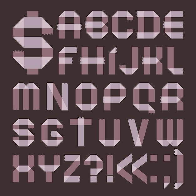 Schriftart aus lila klebeband - römisches alphabet Premium Vektoren