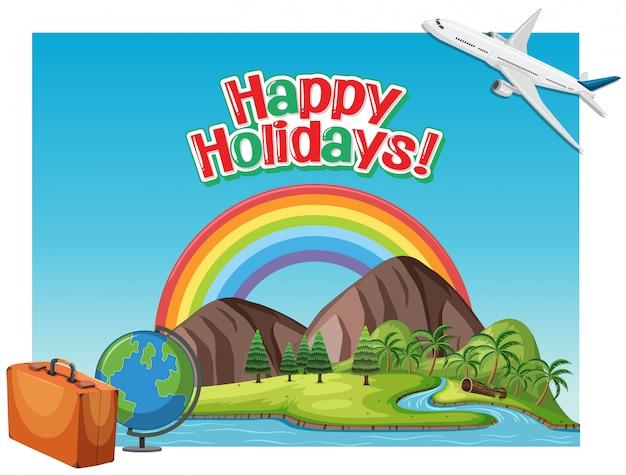Schriftart-entwurfsschablone für glückliche feiertage des wortes mit flugzeugfliegen Premium Vektoren