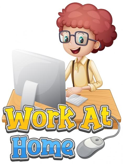 Schriftart für die arbeit von zu hause aus mit einem jungen, der am computer arbeitet Kostenlosen Vektoren