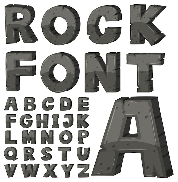 Schriftart für englische alphabete mit steinblock Kostenlosen Vektoren