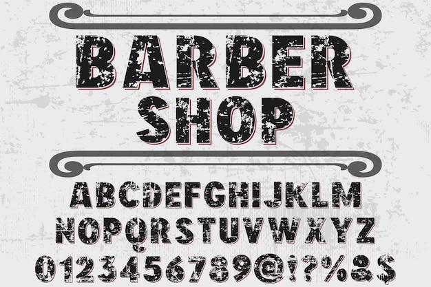 Schriftart typografie design friseur Premium Vektoren