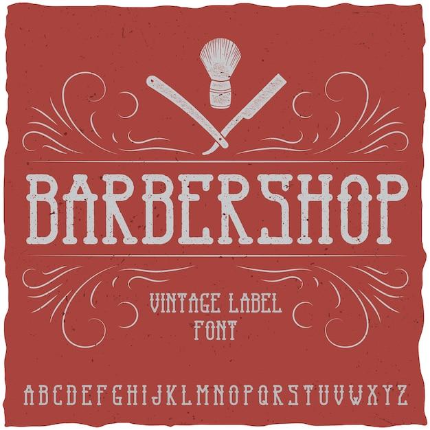 Schriftart und muster des barber shop-etiketts Kostenlosen Vektoren