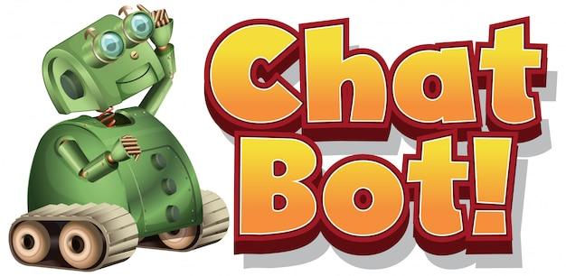 Schriftdesign für chat-bot mit grünem roboter auf weißem hintergrund Kostenlosen Vektoren