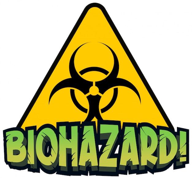 Schriftdesign für wort-biogefährdung mit gelbem zeichen Kostenlosen Vektoren