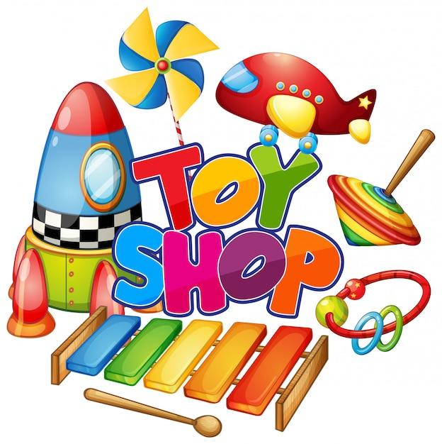 Schriftdesign für wortspielzeugladen mit vielen spielzeugen auf weißem hintergrund Kostenlosen Vektoren