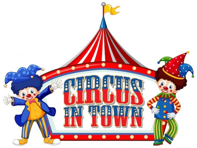Schriftdesign für wortzirkus in der stadt mit clowns im zirkus Kostenlosen Vektoren