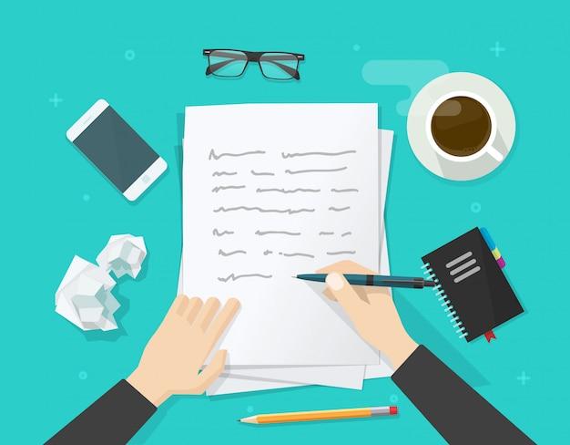 Schriftsteller auf papierblatt schreiben Premium Vektoren