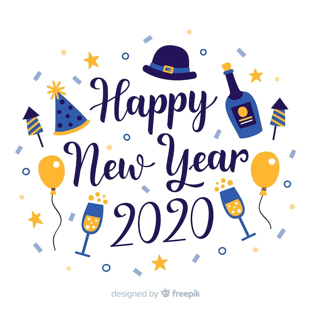 Schriftzug frohes neues jahr 2020 mit champagner und luftballons Kostenlosen Vektoren
