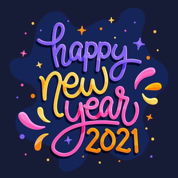 Schriftzug frohes neues jahr 2021 Kostenlosen Vektoren