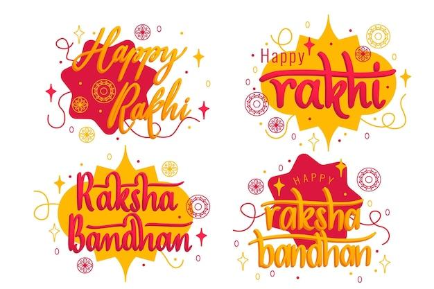 Schriftzug raksha bandhan abzeichen Kostenlosen Vektoren