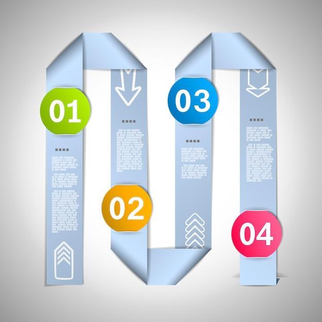 Schritt für schritt infografik-vorlage mit 4 punkten Premium Vektoren