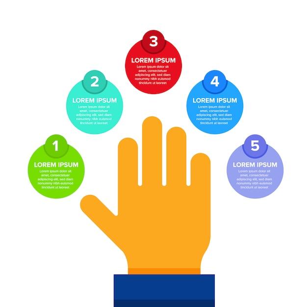 Schritt für schritt infographik mit der hand Premium Vektoren