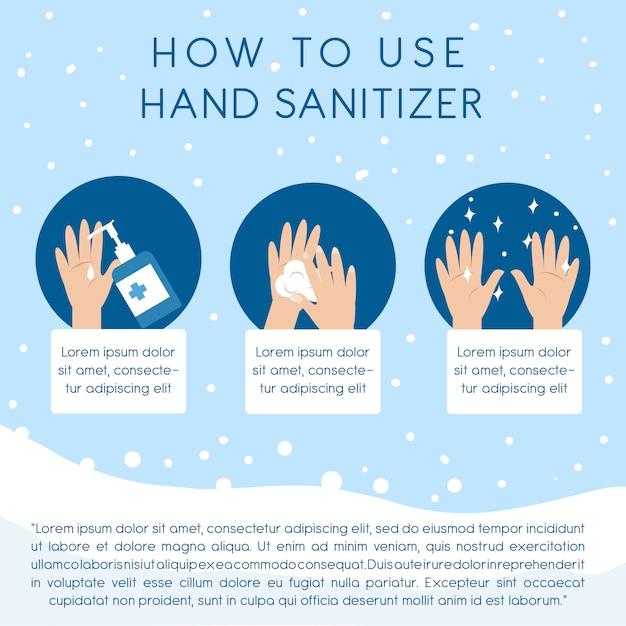 Schritt für schritt verwendung der händedesinfektionsanweisungen zum reinigen der hand Premium Vektoren