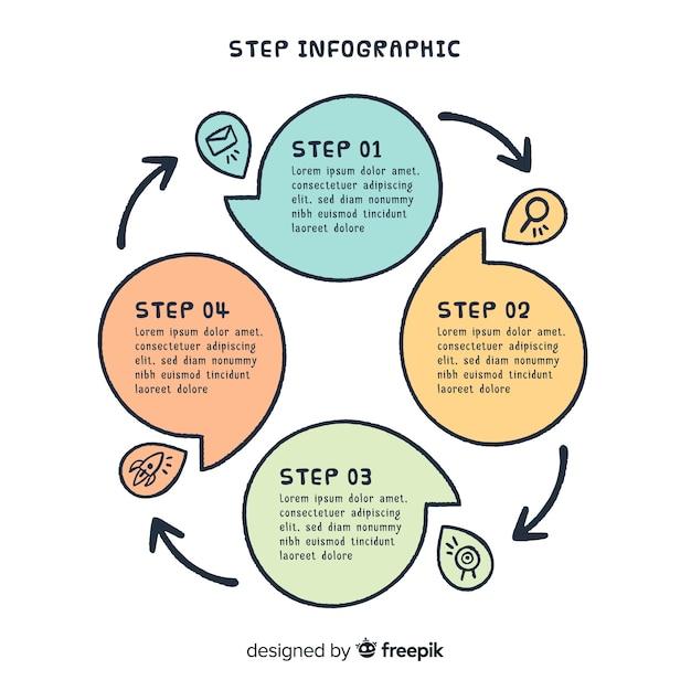 Schritt infografik design Kostenlosen Vektoren