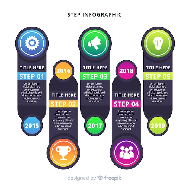 Schritt infografik Kostenlosen Vektoren