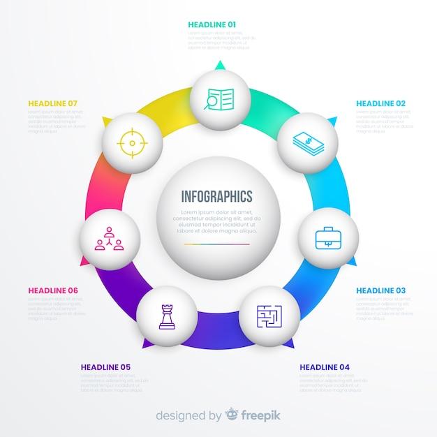 Schritte infografik in einem kreis Kostenlosen Vektoren