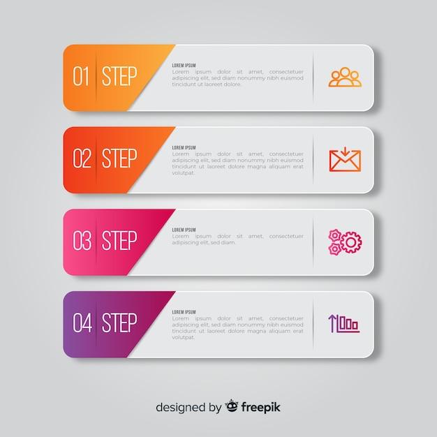 Schritte infografik mit folienformen Kostenlosen Vektoren