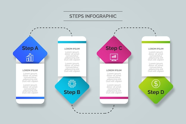 Schritte infografiken konzept Kostenlosen Vektoren