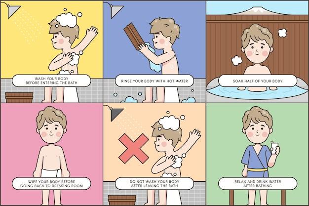 Schritte, wie man ein japanisches bad nimmt Kostenlosen Vektoren