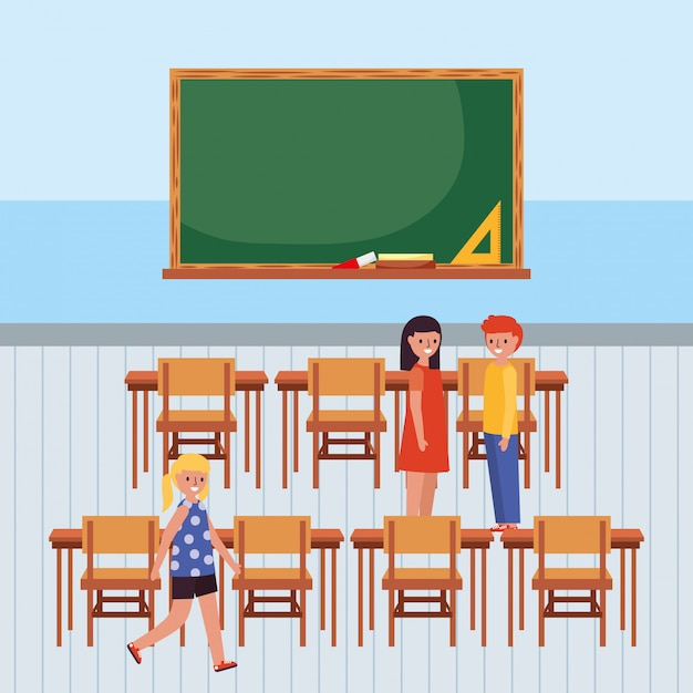 Schüler im klassenzimmer mit tafel Premium Vektoren