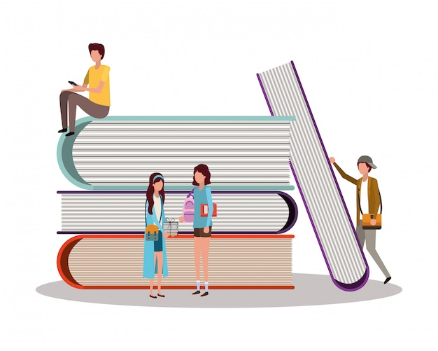 Schüler mit büchern, unterrichtsstunde lernen klassenzimmer und informationen Premium Vektoren