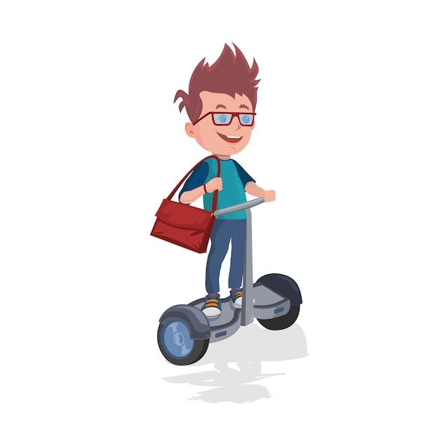 Schüler mit dem rucksackreiten auf gyroscooter Premium Vektoren