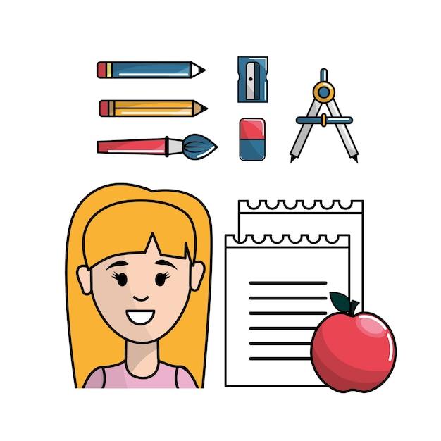 Schüler mit schulwerkzeugen zum lernen Premium Vektoren