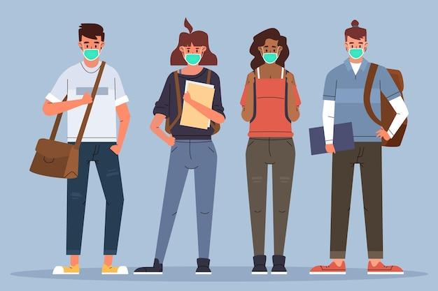 Schüler tragen gesichtsmasken Premium Vektoren
