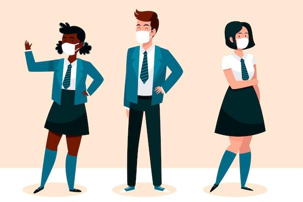 Schüler tragen gesichtsmasken Kostenlosen Vektoren