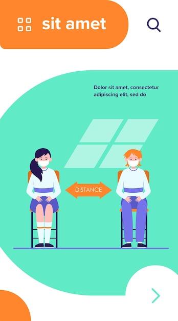 Schüler tragen masken. teen kinder sitzen am schreibtisch und halten abstand flache vektorillustration Kostenlosen Vektoren
