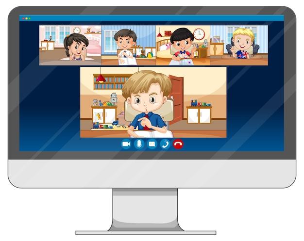 Schüler video chat online-bildschirm auf dem computerbildschirm Kostenlosen Vektoren
